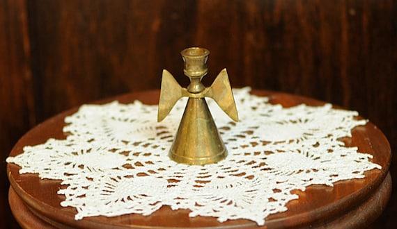 "Vintage 2.5"" Miniature BRASS ANGEL Candle Holder"