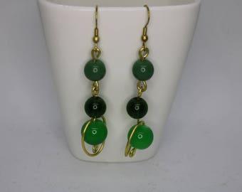 Green | Brass | Beaded Earring |