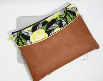 """Cover Macbook - laptop pouch 9 """"10 11"""" or 12 """"13"""" 14 """"15"""" inches-printed flowers vintage - personalized gift - gift for woman"""
