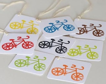 Mini Bicycle Gift Tags, Set of 8 Bike Gift Cards, Bicycle Gift