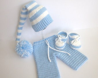 Boys set, Crochet baby set, booties, pants, Long Tail Elf Hat, Photo Prop. size 0-03 months baby.