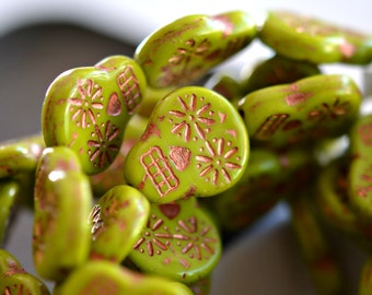 Haunted Faces - Czech Glass Beads, Opaque Gaspeite Green, Copper Wash, Sugar Skulls 20x17mm - Pc 2