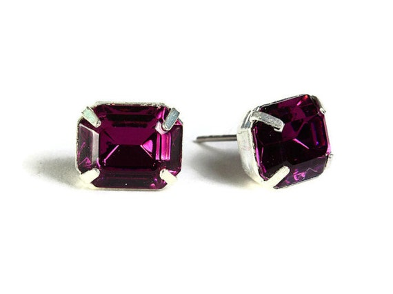 Sale Clearance 20% OFF - Estate style purple rhinestone crystal stud earrings (532)