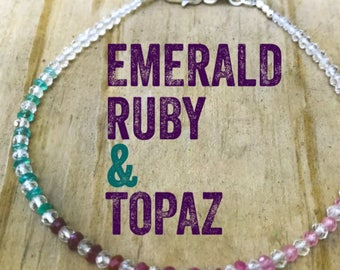 Emeralds,Ruby, and Topaz - Colorful Emerald Ruby and Topaz Gemstone Bracelet