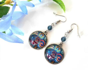 Cabochon earrings with montana blue swarovski crystal bead