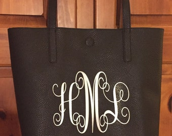 Monogrammed Handbag, Monogrammed Tote, Monogrammed Purse, Monogrammed Reversible Tote Handbag, Faux Leather Handbag, Personalized Handbag