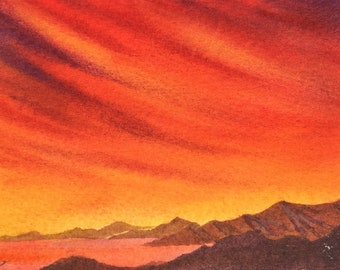 California Sunset  ACEO   Blood-Red Sunset   Original Watercolor   Contemporary art