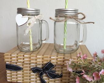 2 Mason Drinking Jars Wedding Mr & Mrs Etched Personalised Gift Hamper