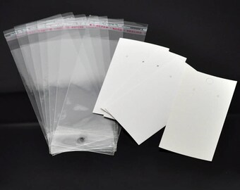 100 Earring Display Cards White with Self-Seal Bags, 8687a, CR