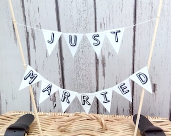 Wedding Cake Topper // Just Married  // Miniature Bunting Decoration