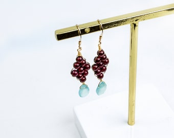 OE-GM01 The Giving of Love is An Education in Itself - Handmade 14K Gold Filled Dangle Earring with High-Quality Garnet and Chalcedony