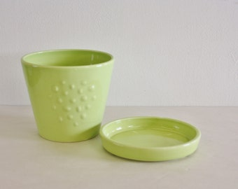 Vintage Lime Yellow Green Slight Oval Planter With Matching Saucer