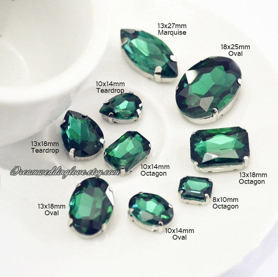 Emerald Sew On Crystal   Drak Green Tear Drop Oval Octagon Rectangle Heart Round Navette Sew On Rhinestones Silver Shadow Settings by Etsy