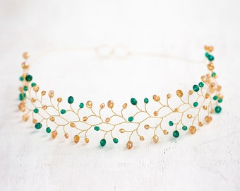 11_Green crystal headband, Gold hair accessories, Bridal hair piece, Wedding crown, Bridal tiara, Hair accessories for bride, Tiaras