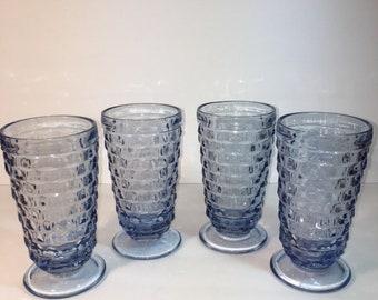 Fostoria American, Blue, set of 4 Goblets, Glasses