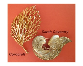 Large Pins/Brooches * Vintage Corocraft & Sarah Coventry * Leaf Designs * Lot Of Two * Gift For Her