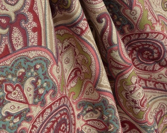 Paisley Shower curtain garnet blush pink turquoise brown 72 x 84 108 long shower curtain. Extra wide shower curtain Custom shower curtain