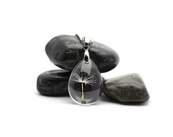 Dandelion Necklace - Dandelion Seed Necklace - Terrarium Necklace - Dandelion Seed Pendant - Dandelion Jewelry - Botanical Necklace -LT-326