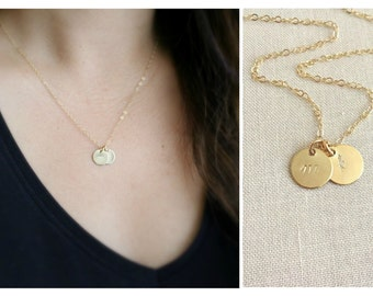 Cursive Initial Necklace | Initial Disc Necklace | Monogram Necklace | Bridesmaids Gift | Gift For Mom | Initial Jewelry