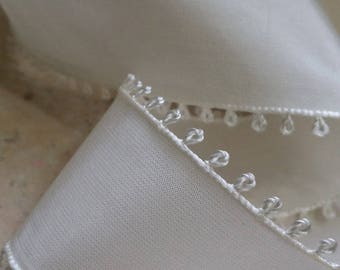 "1.5"" Vintage Picot Edge Rayon Taffeta Ribbon Trim in luxurious Creamy Bridal White, wedding,"