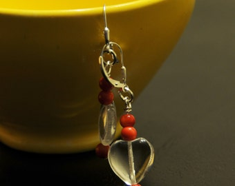 Ear rings featuring Crystal Hearts, Red Tagua beads and Silver