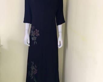 1940's, Long Black Crepe Dress, Zip Front, Formal Maxi