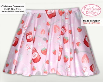 Kawaii Strawberry Skirt Fairy Kei Strawberry Jam Lamb Daisies Flowers Pastel Sizes XS through 3XL *Made 2 Order*