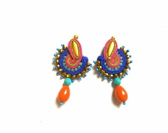 Laura - Soutache Earrings, big earrings, colorful boho earrings