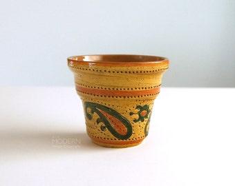 Bitossi Italian Yellow Paisley Liberty Flower Pot Vase by Aldo Londi