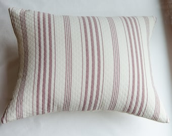 Lavender and White Stripe  Rectangular Pillow Cover