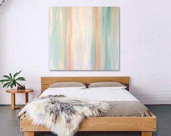 "Original large abstract painting - acrylic on canvas - 36""x36"" - southwest decor - boho decor - ombre - minimal - desert - stripes"