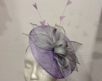 "Fascinator wedding leaves bluish gray, lilac purple base, model ""Leaves"""