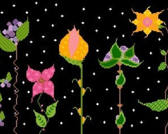 Needlepoint or Cross Stitch Pattern Design Chart - Night Garden - Colorful Flowers Under Night Sky with Stars