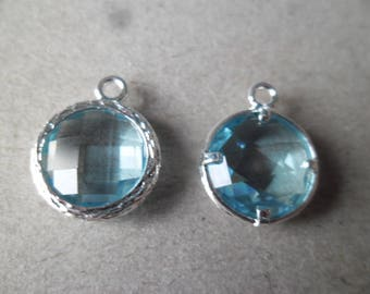 x 1 pendant birthstone crystal blue round faceted silver 17 x 14 mm