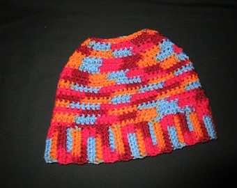 Red and Blue Adult messy bun hat