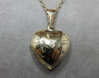 Chased Sterling Silver Puffy Heart Locket Pendant w/ Vermeil Wash   NEF10