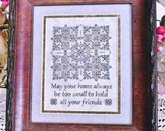 TA SMITH DESIGNS An Old Irish Blessing Blackwork cross stitch patterns at thecottageneedle.com holidays St. Patrick's Day March Ireland
