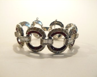 Beautiful High Quality Vintage Art Deco Rhinestone Link Bracelet