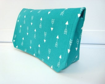 Fabric Coupon Organizer Holder /Budget Organizer Holder - Attaches to Your Shopping Cart - Turquoise With White Arrows