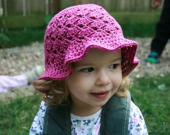 Crochet pattern, Crochet patterns, Crochet hat pattern vintage crochet summer hat pattern floppy summer hat 5 sizes newborn to adult (60)