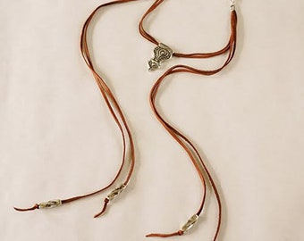Silver Pendant with Sliver Tubes on Saddle Leather Lariat Necklace