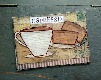Sale!  5x7 Original painting, coffee painting, mixed media painting, mixed media art, whimsical coffee, coffee art, Espresso