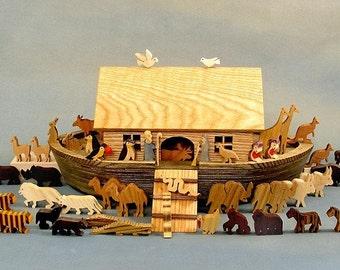 Heirloom Noah's Ark, Wooden Noahs Ark, Noah Ark Wood, Noahs Ark Toy Babtism Bar Bat Mitswa Gifts  Noah Arc Animals Wood  Bible Story Waldorf