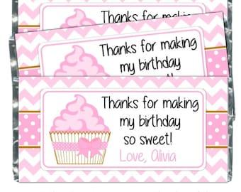 Wrappers de bonbons anniversaire, gâteau anniversaire friandises - fit plus 1,55 oz chocolat barres, emballages de bonbons rose Cupcake