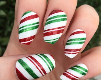 Fake nails, candy cane nails, Christmas nails, press on nails, Christmas