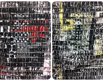 """1"""" Ruffles Black & White Urban Print Semi-Sheer Stretch Polyester Spandex Fabric - 60 Inches Wide - By the Yard or Bulk"""