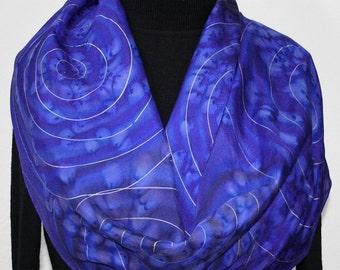 Purple Silk Scarf Hand Painted. Periwinkle Blue Hand Dyed Silk Scarf SPACE STORY, in Several SIZES. Christmas, Anniversary, Birthday Gift