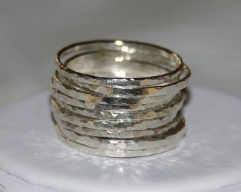 Sterling Silver Stack Rings - Hammered Sterling Silver Stacking Rings, Set of 9