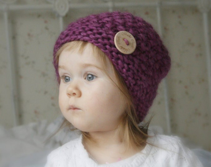KNITTING PATTERN basic chunky beanie hat Bel (baby, kids, adult sizes)