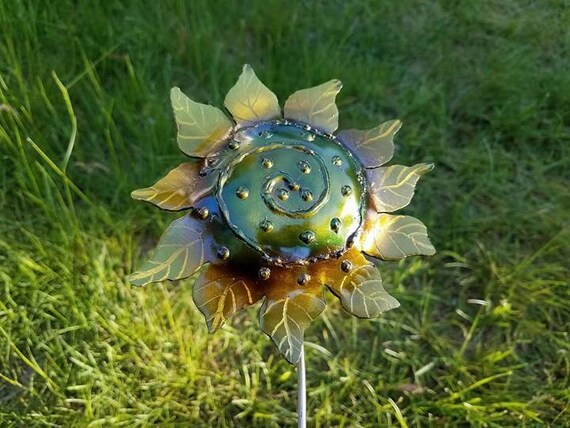 """Sunflower with swirl, outdoor garden stake, 18"""" made to order"""